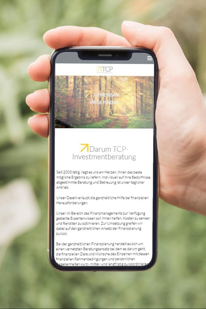 TCP-Investmentberatung mobile Webseite