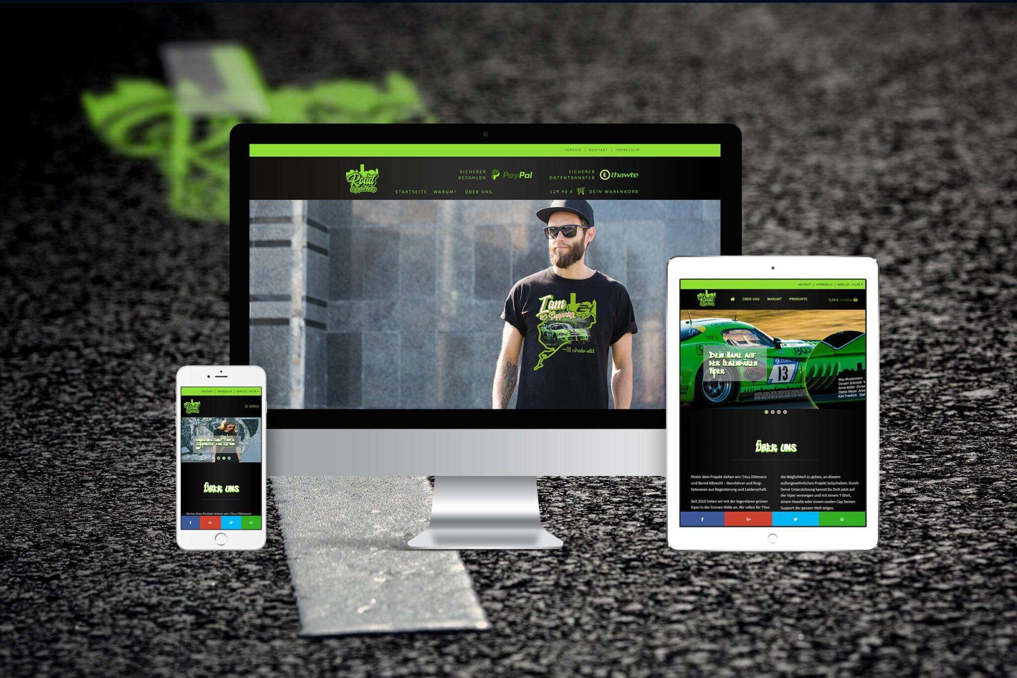 Webdesign Responsive Webseite Detailvorschau Device Vorschau road-to-green-hell.com - Webagentur Rheinland Pfalz