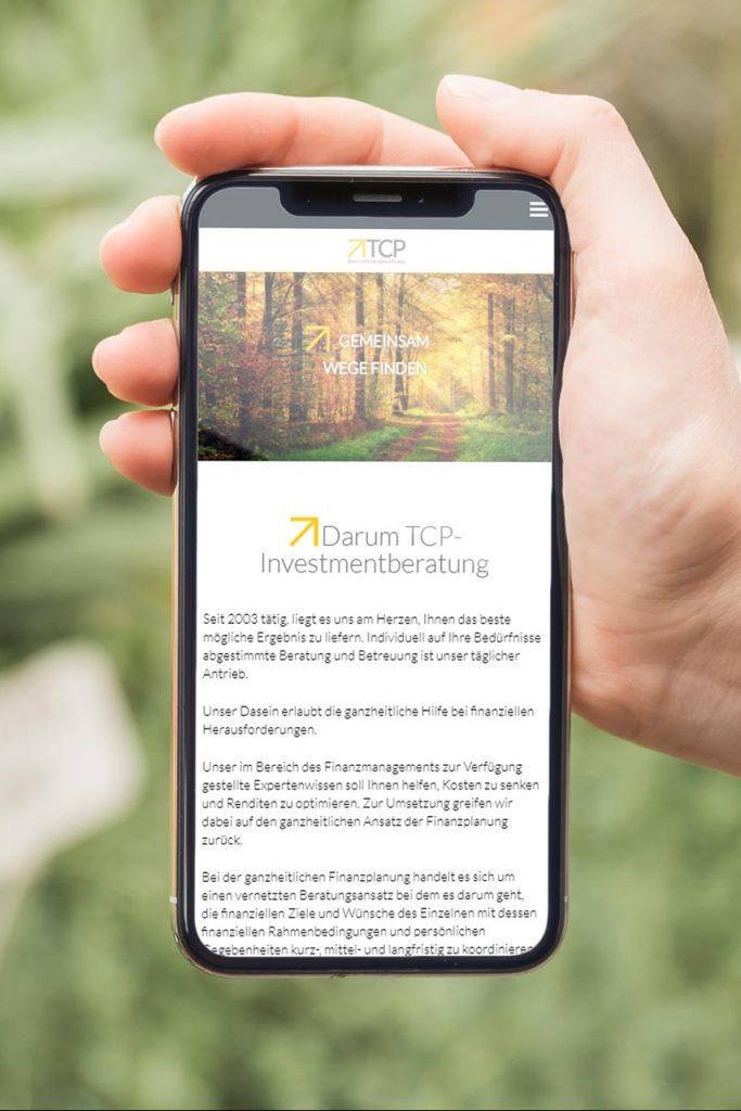 TCP-Investmentberatung mobile Webseite - Webdesign Webagentur Rheinland Pfalz