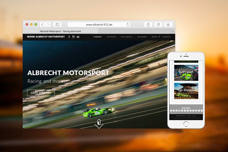 Screenshot Webseite Albrecht Motorsport Responsive Webdesign Webagentur Rheinland Pfalz